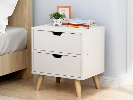 2 Level Bedside Table- White