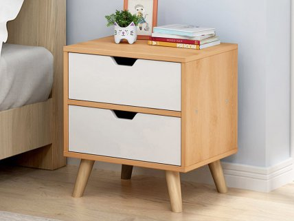 2 Level Bedside Table Drawers- Maple