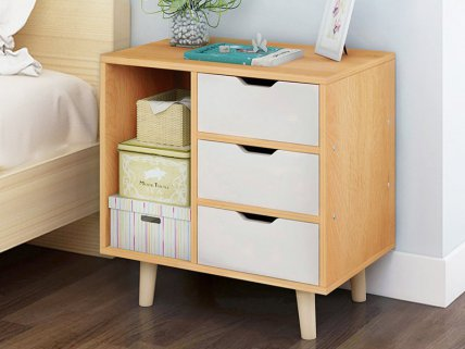 3 Level Bedside Table with Drawers- Maple