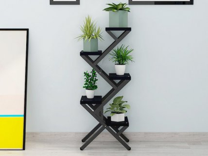 Z - Shaped Flower Stand - Black