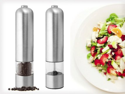 2 x Automatic Stainless Steel Salt & Pepper Mills