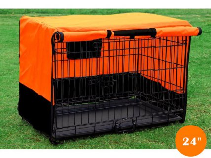 Foldable Dog Cage Kennel with Cover - M 24""
