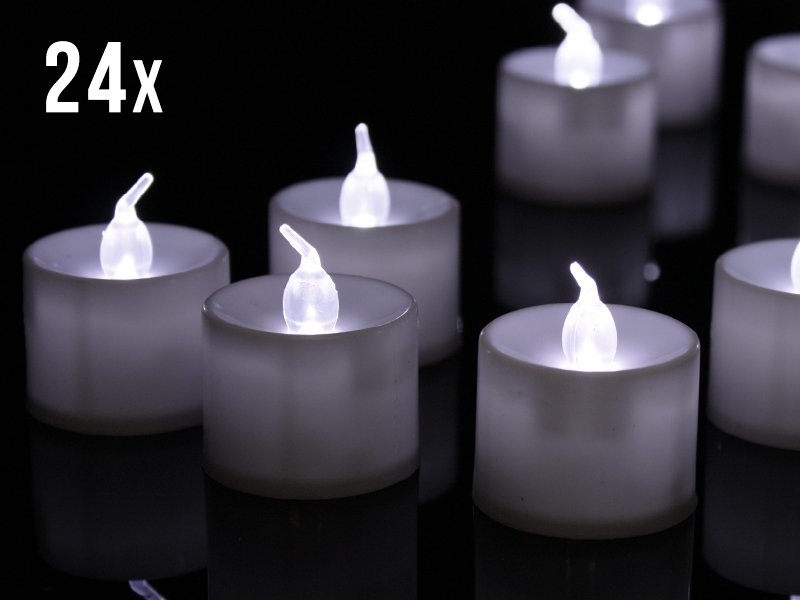24 x White Tealight LED Candles