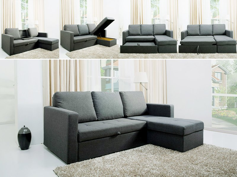 Multi Functional L Shaped Sofa Double Bed Crazy Sales