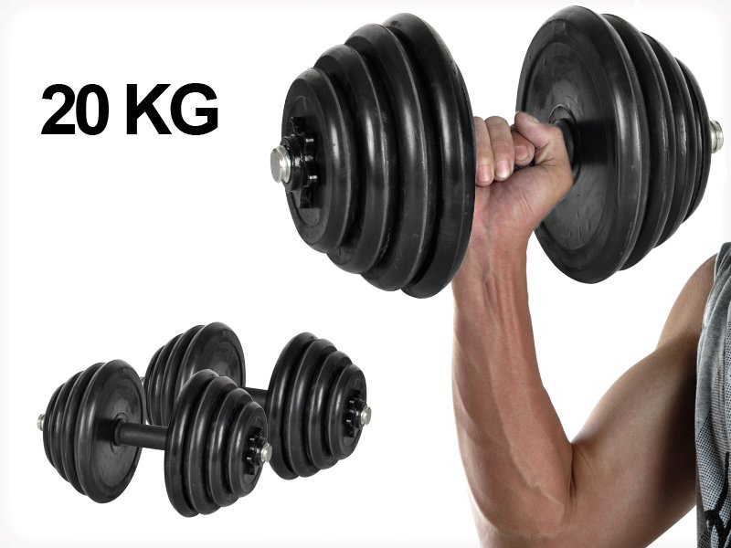 20KG Adjustable Free Weight Rubber Dumbbell Set