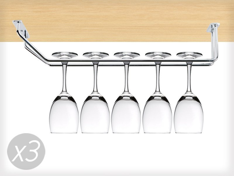 3 x Stainless Steel Wine Glass Holding Racks