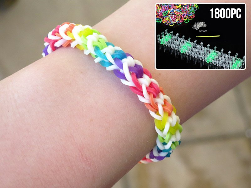 1800pc DIY Braided Multicolour Loom Bands