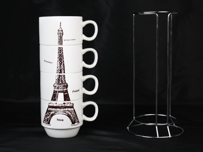 4pc Eiffel Tower Ceramic Coffee Cup with Holder