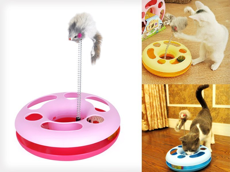 Cat Play / Exercise Toy with Mouse Spring