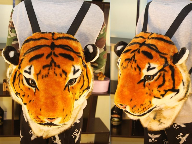 Realistic Plush Tiger Head Backpack