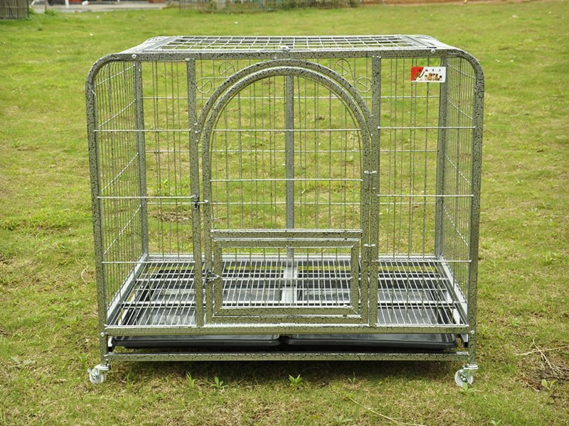Durable XL Collapsible Metal Pet Cage with Wheels