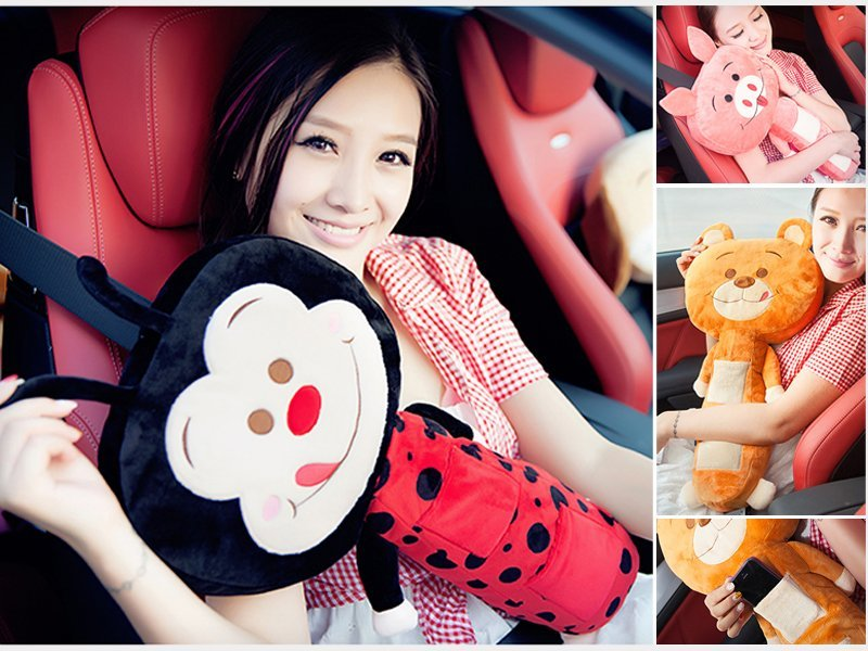 Cartoon Seat Belt Pillow with Pockets