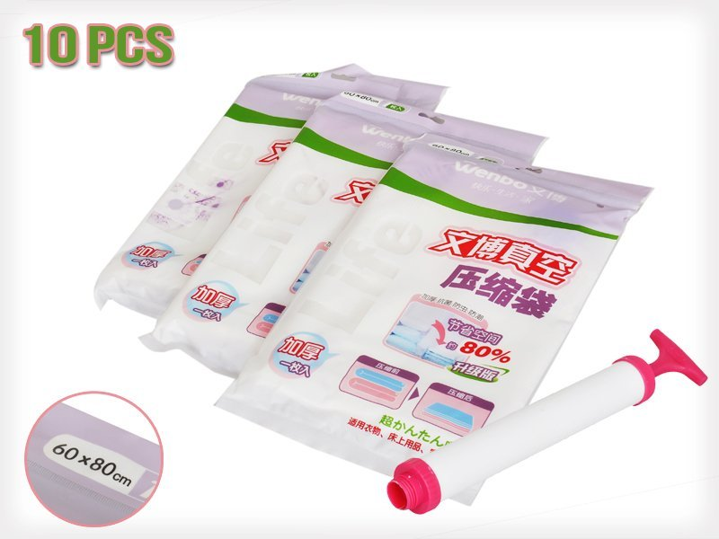 10pk Vacuum Bags 60x80cm with Pump
