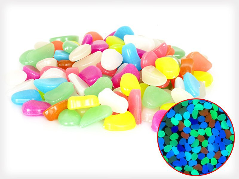 100pcs Multicolour Glow in the Dark Pebbles