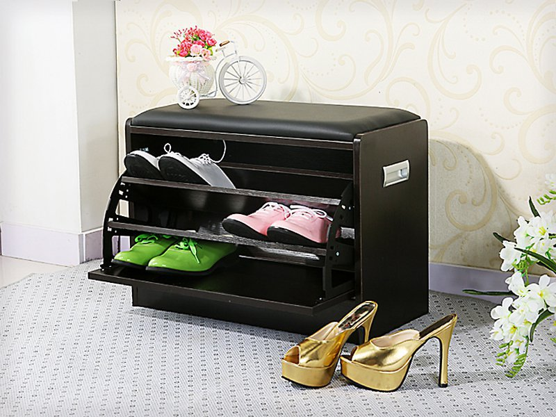 Entryway 3 Layer Shoe Storage Cabinet with Seater