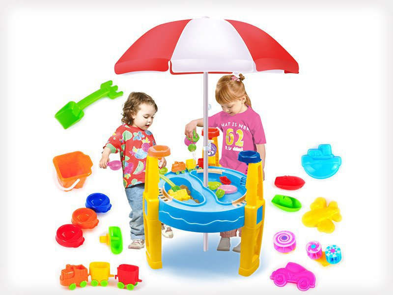 Outdoor Kids Water & Sand Table with Umbrella
