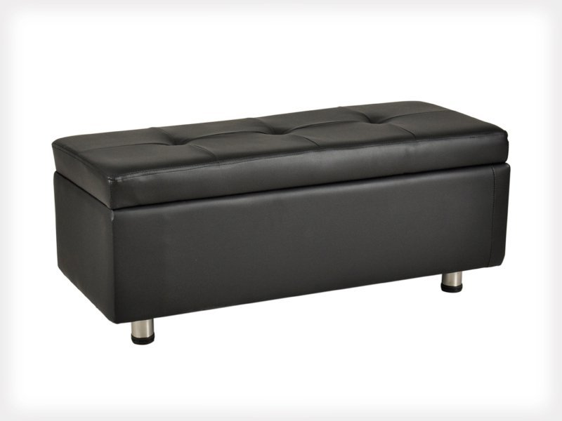 Leather Ottoman Storage Bench Stool