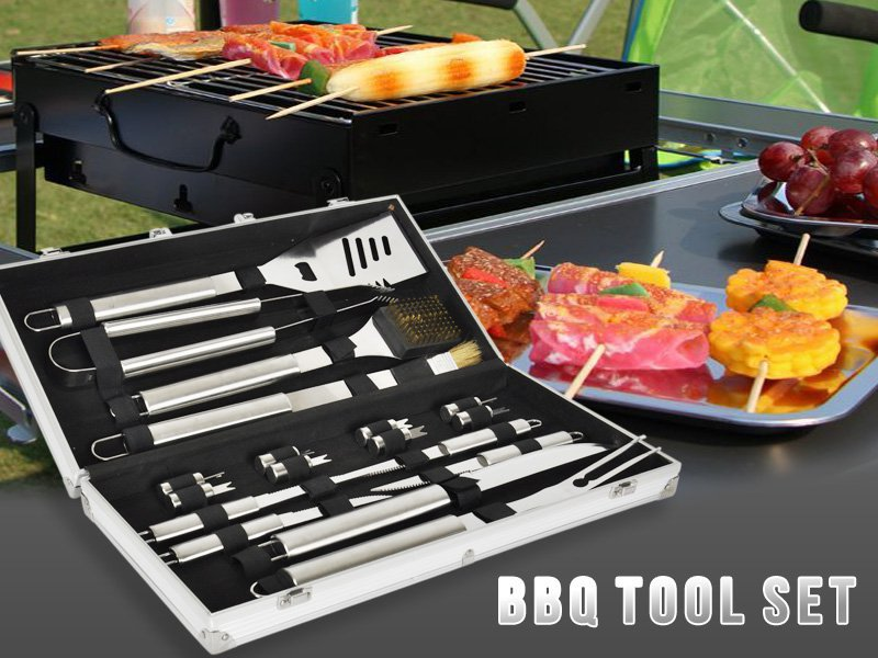 Stainless Steel BBQ Tool Set with Gift Box - 18pc