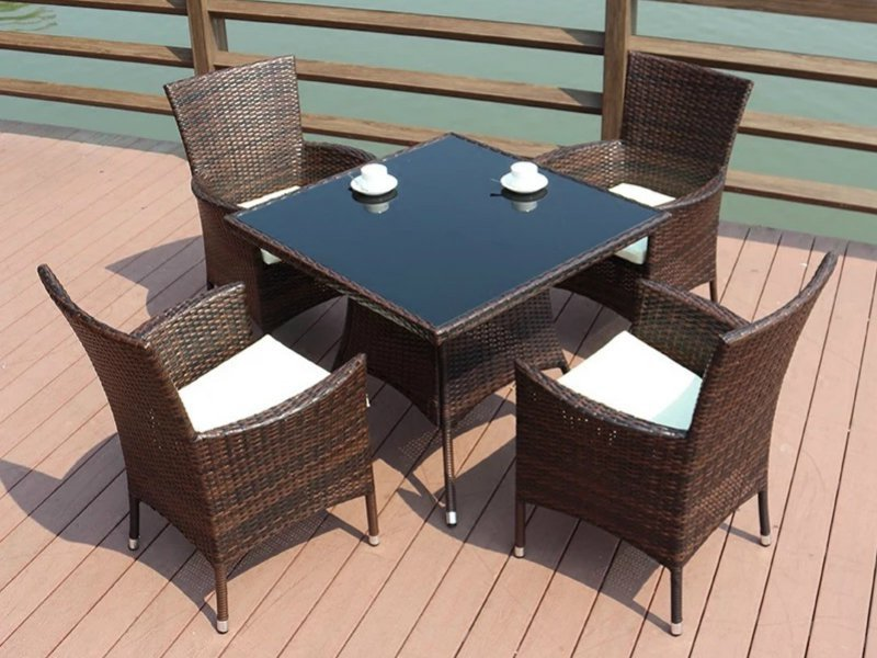 PE Rattan Table and Chairs Outdoor Set - 5pc