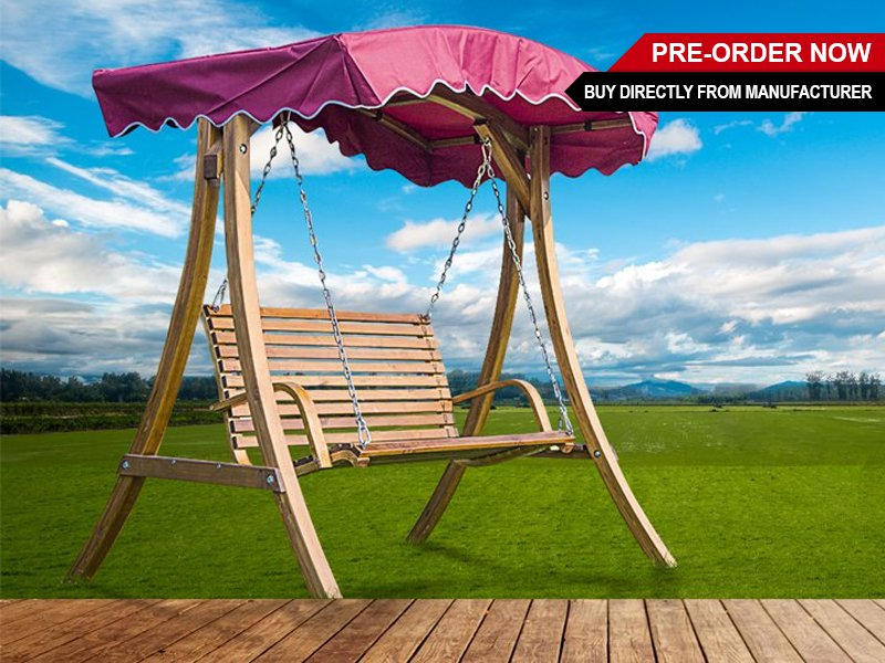 Wooden Garden Swing Chair with Sun Shade