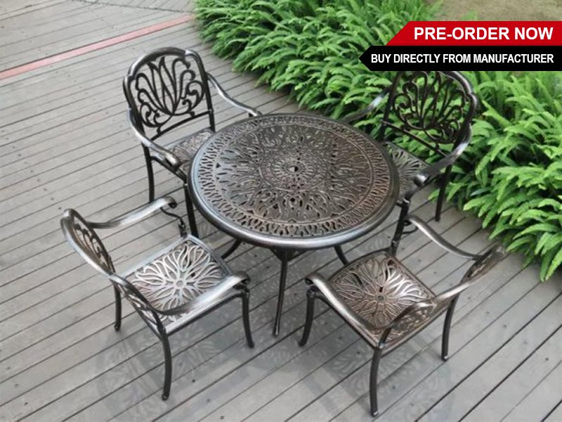 Aluminum Retro Table and 4 Chairs with Umbrella