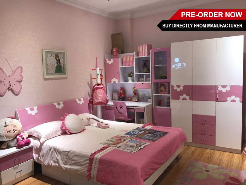 Girls 7 Piece Bedroom Furniture Set - Pink Gloss