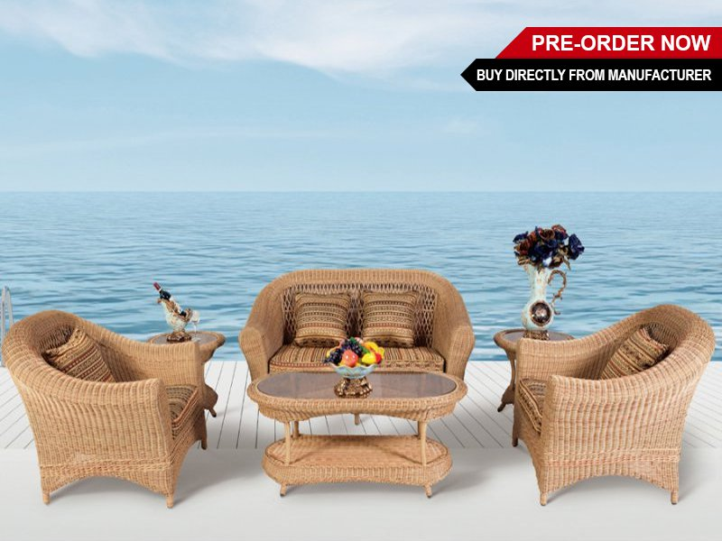 6pc PE Rattan Outdoor Sofa Set - Light Brown