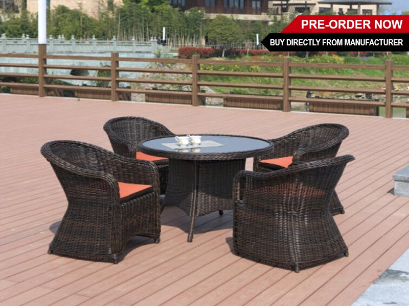 All-Weather Outdoor Dining Table Set 5pc - Round