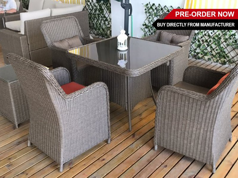 All-Weather Outdoor Dining Table Set 5pc - Square