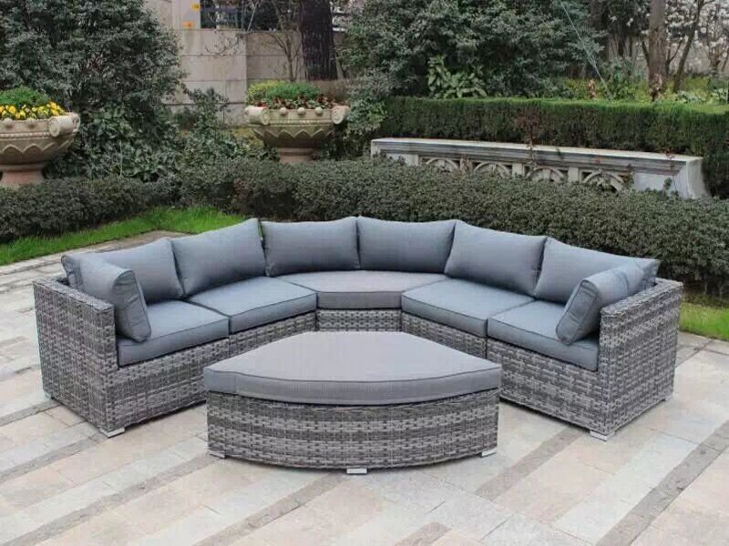 PE Rattan 5-Seat Sofa Set with Footstool