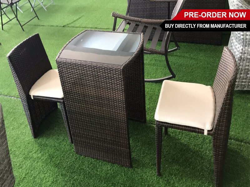 Outdoor PE Rattan Lovers Chair Set with Table