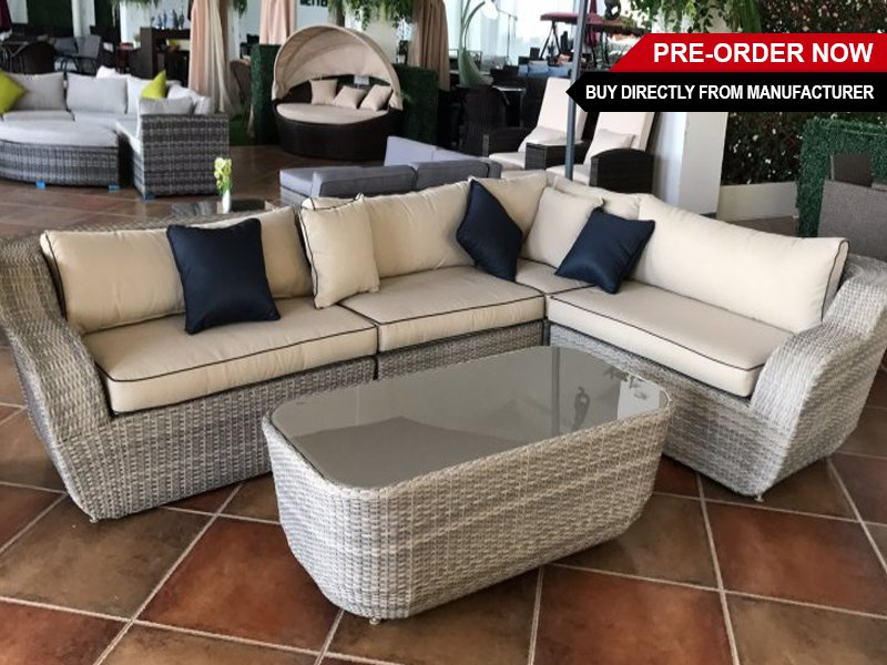PE Rattan Outdoor Sunroom Patio Furniture Set 5pc