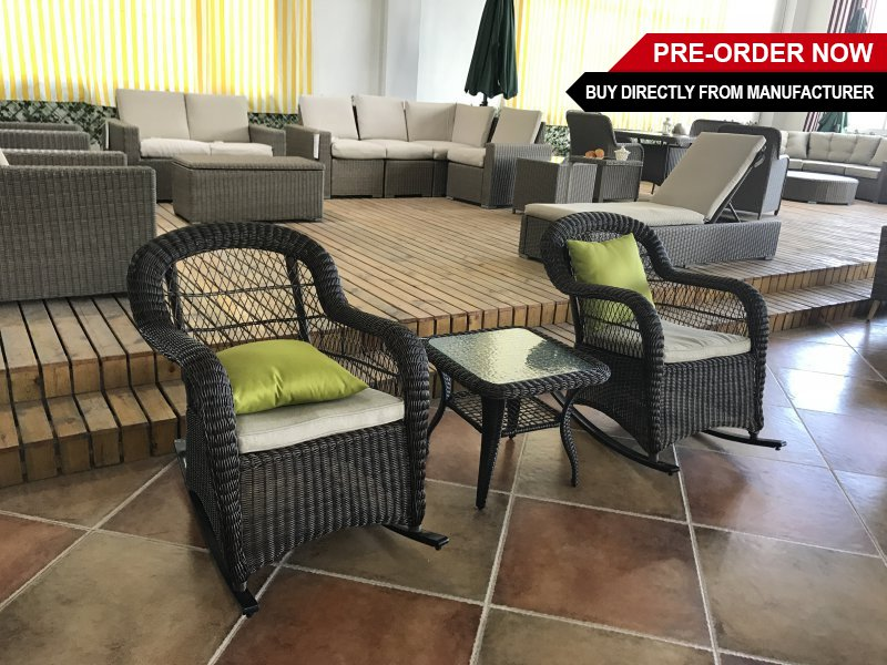 PE Rattan Rocking Chairs and Table
