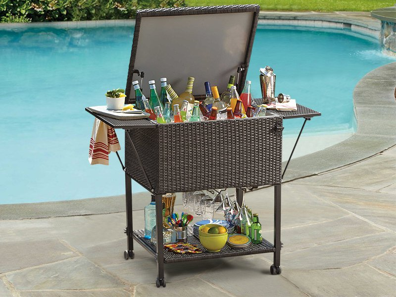 Outdoor PE Rattan Mobile Bar Unit