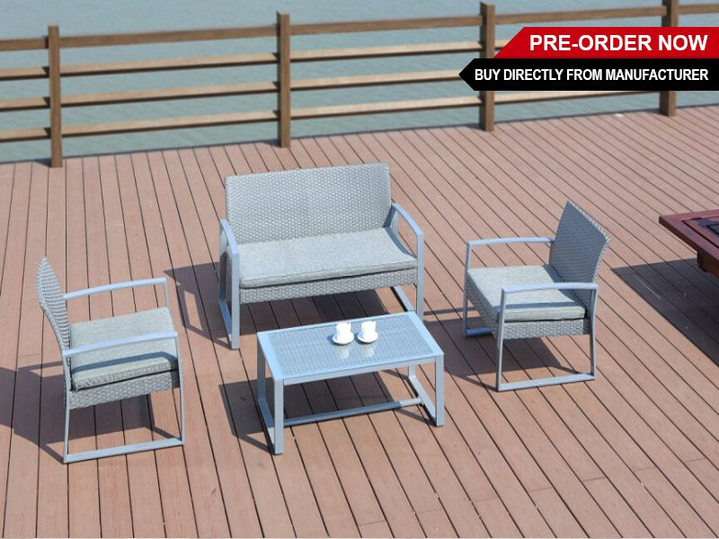 PE Rattan Steel Frame Outdoor Sofa Set 4pc