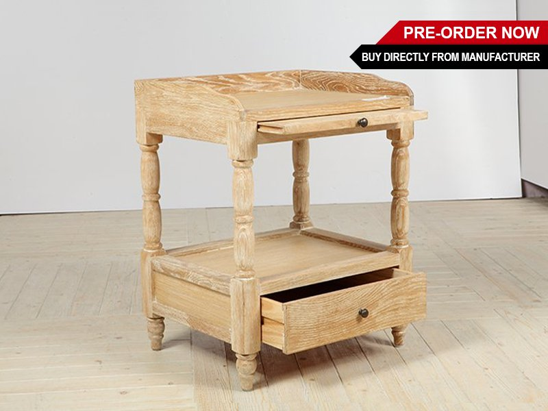 Solid Oak Bed Side Table Cabinet