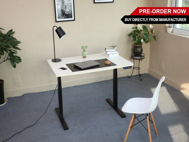 Electric Height-Adj Sit Stand Desk with Floor Mat