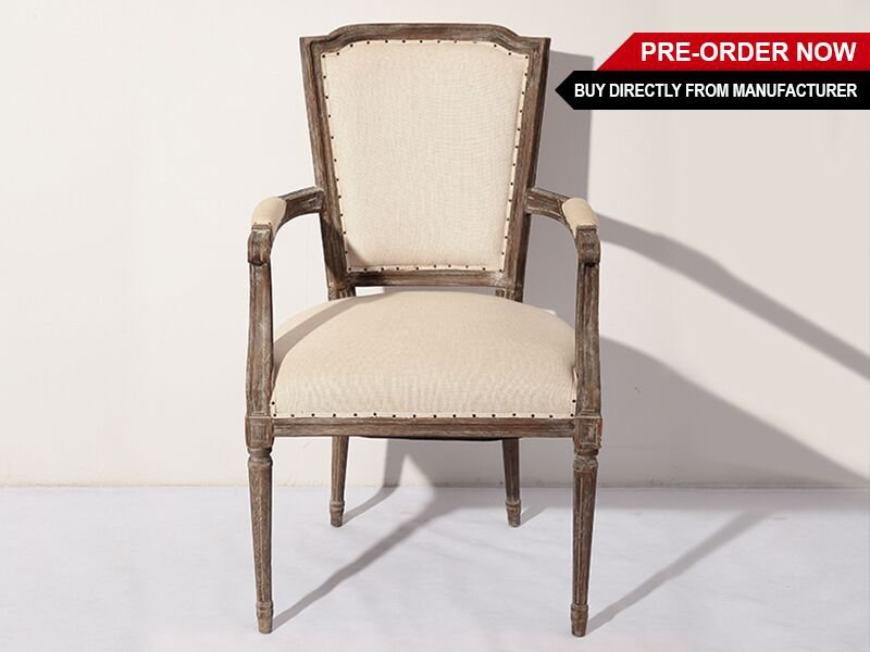 Oak And Linen Dining Chair