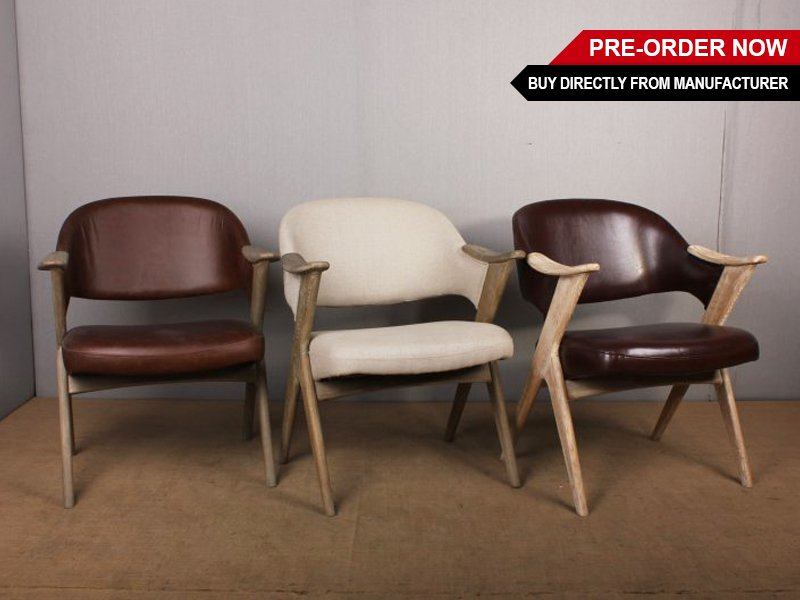 Stylish Oak Leather Dinning Chair with Arm Rest