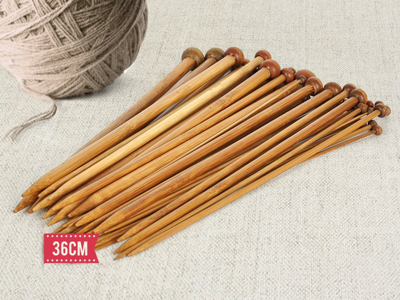 18 Pairs of Bamboo Knitting Needles 36cm