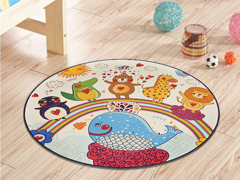 1m Round Kids Carpet Mat- Small Animals