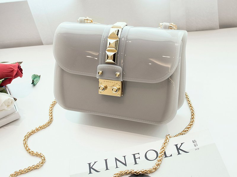Designer Crossbody Jelly Bag - Grey