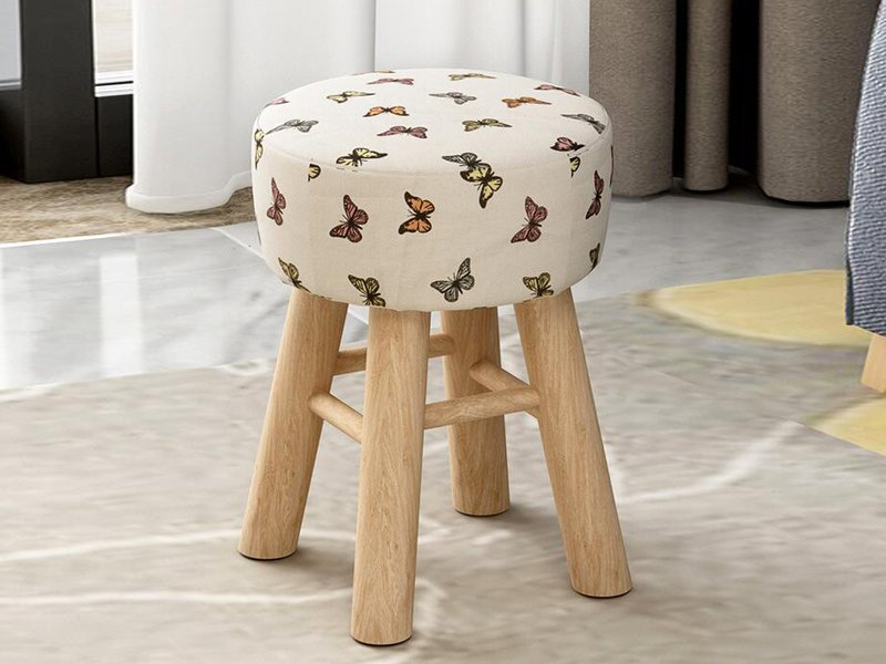 Small Round Wooden Stool - Butterfly
