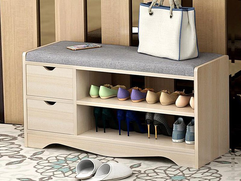 Shoe Changing & Storage Bench with Drawers
