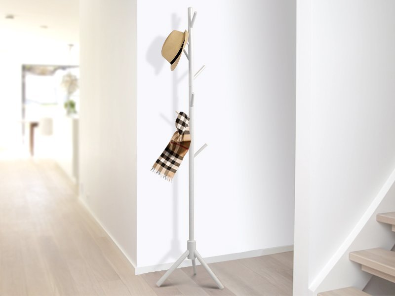 Standing Wooden Clothes Rack - White