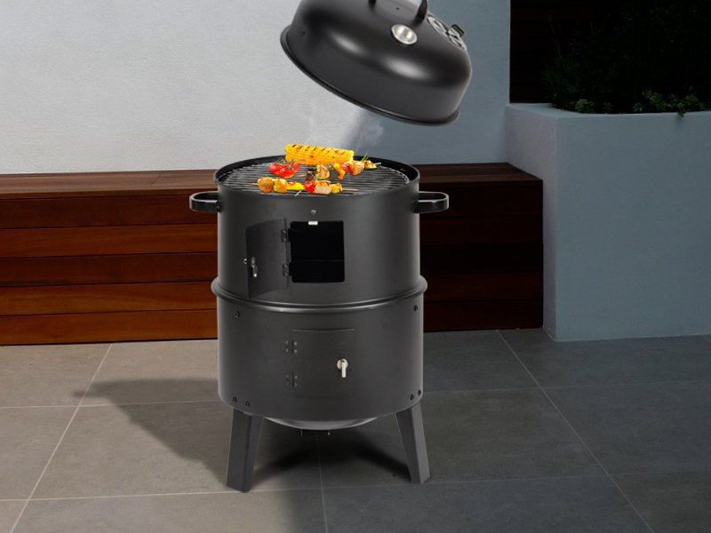 3-in-1 Charcoal Smoker, Roaster and BBQ Griller