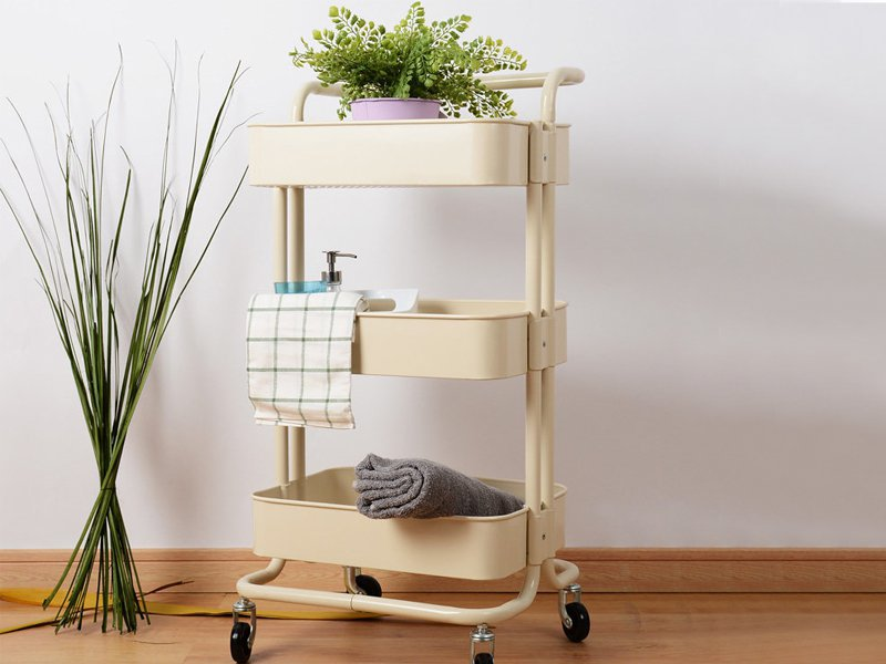 3 Tier Rolling Cart Kitchen Storage Trolley -Beige