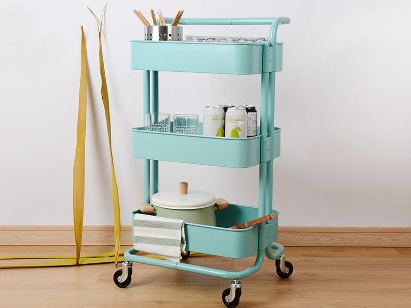 3 Tier Rolling Cart Kitchen Storage Trolley-Blue
