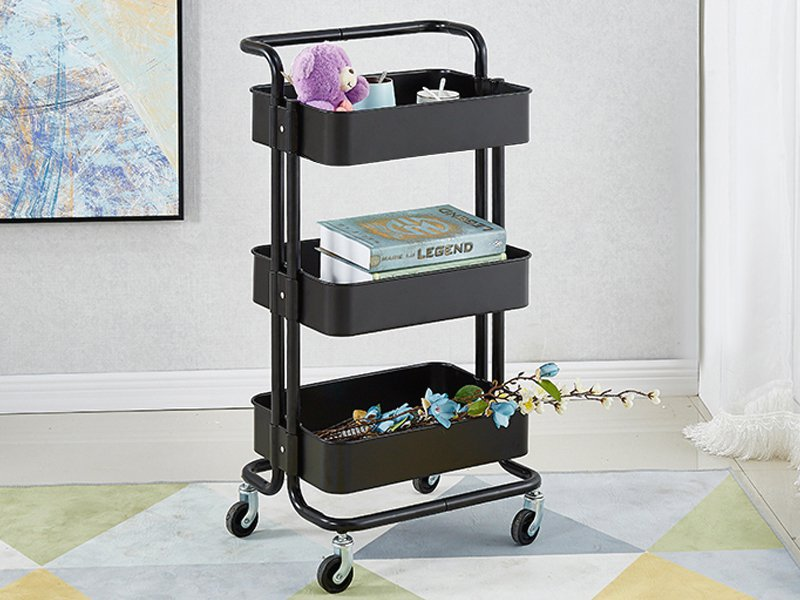 3 Tier Rolling Cart Kitchen Storage Trolley- Black