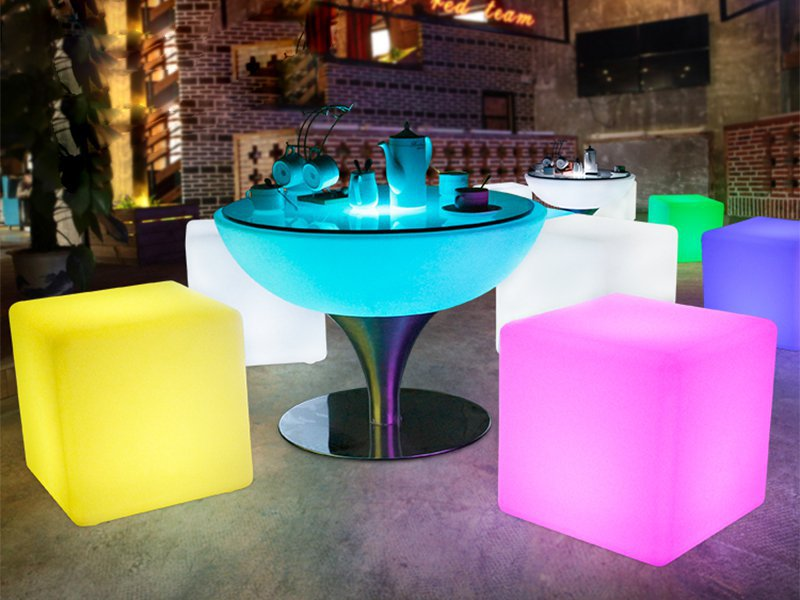 Rechargeable LED Colour Changing Cube Stool